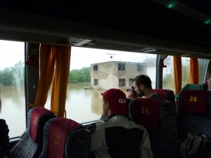 Serbia to Bosnia bus-flood