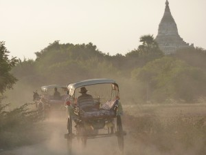 dusty road in bagan